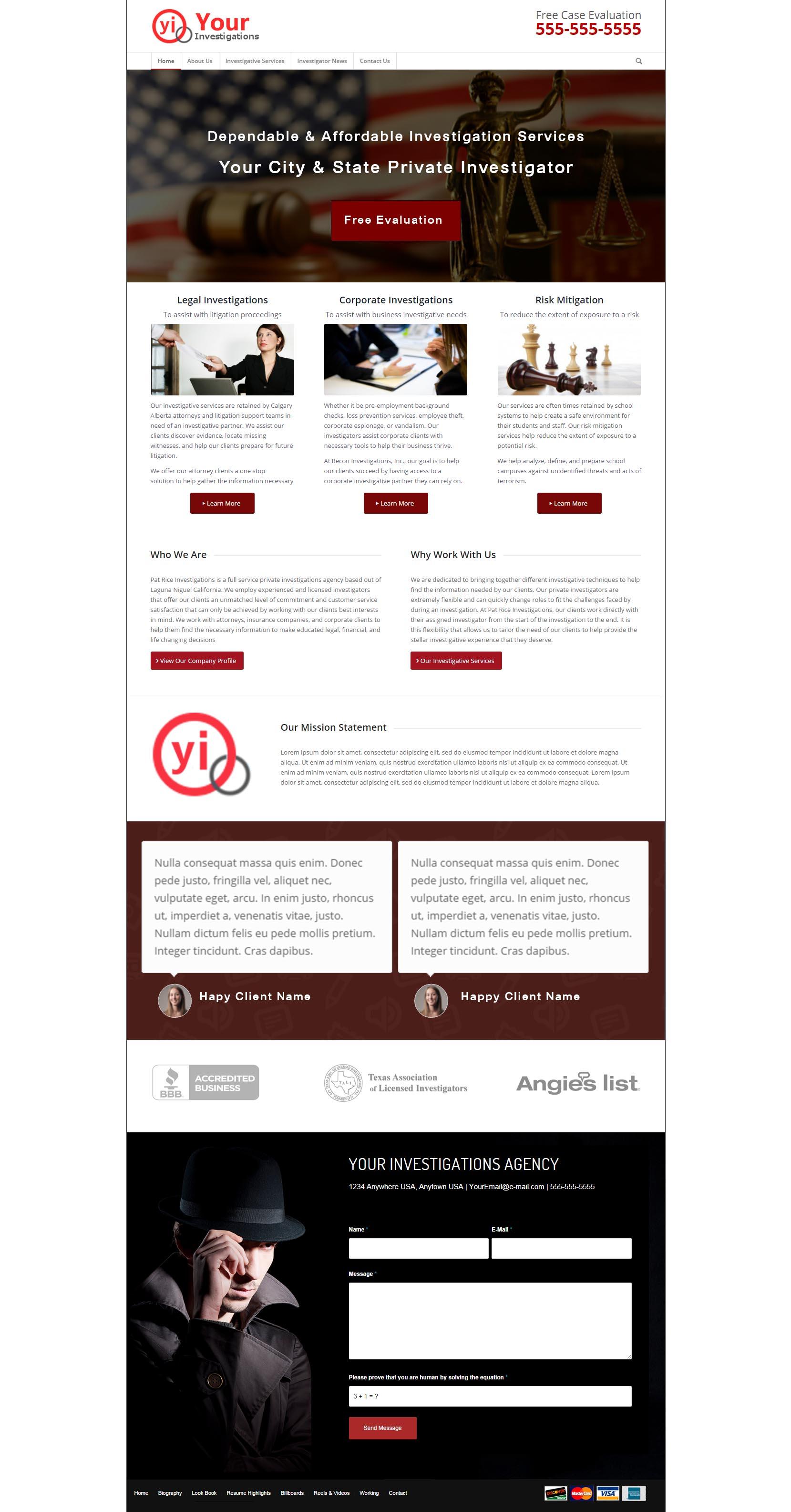 private investigator website sample design investigator. Black Bedroom Furniture Sets. Home Design Ideas