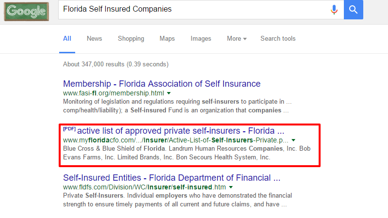 Florida Self Insured Companies
