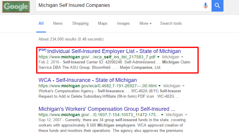 Michigan Self Insured Companies