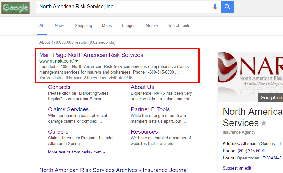 North American Risk Service Inc. Google Search