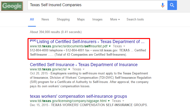 Texas Self Insured Companies