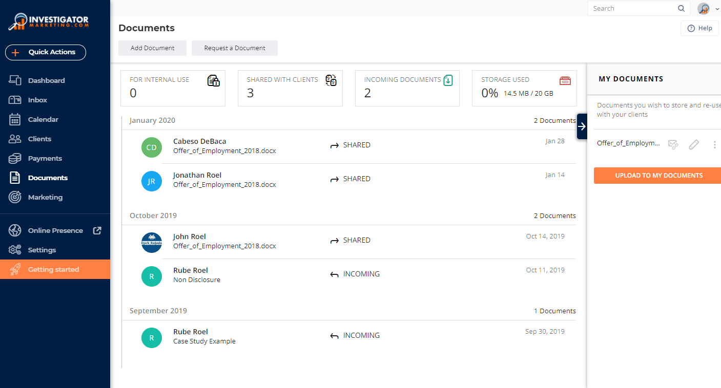 Dashboard for the Agency Management Platform