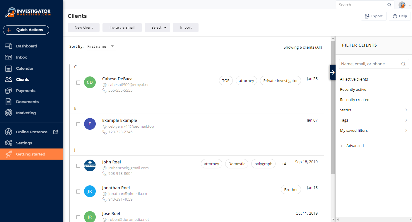 Investigator Marketing Agency Management Platform