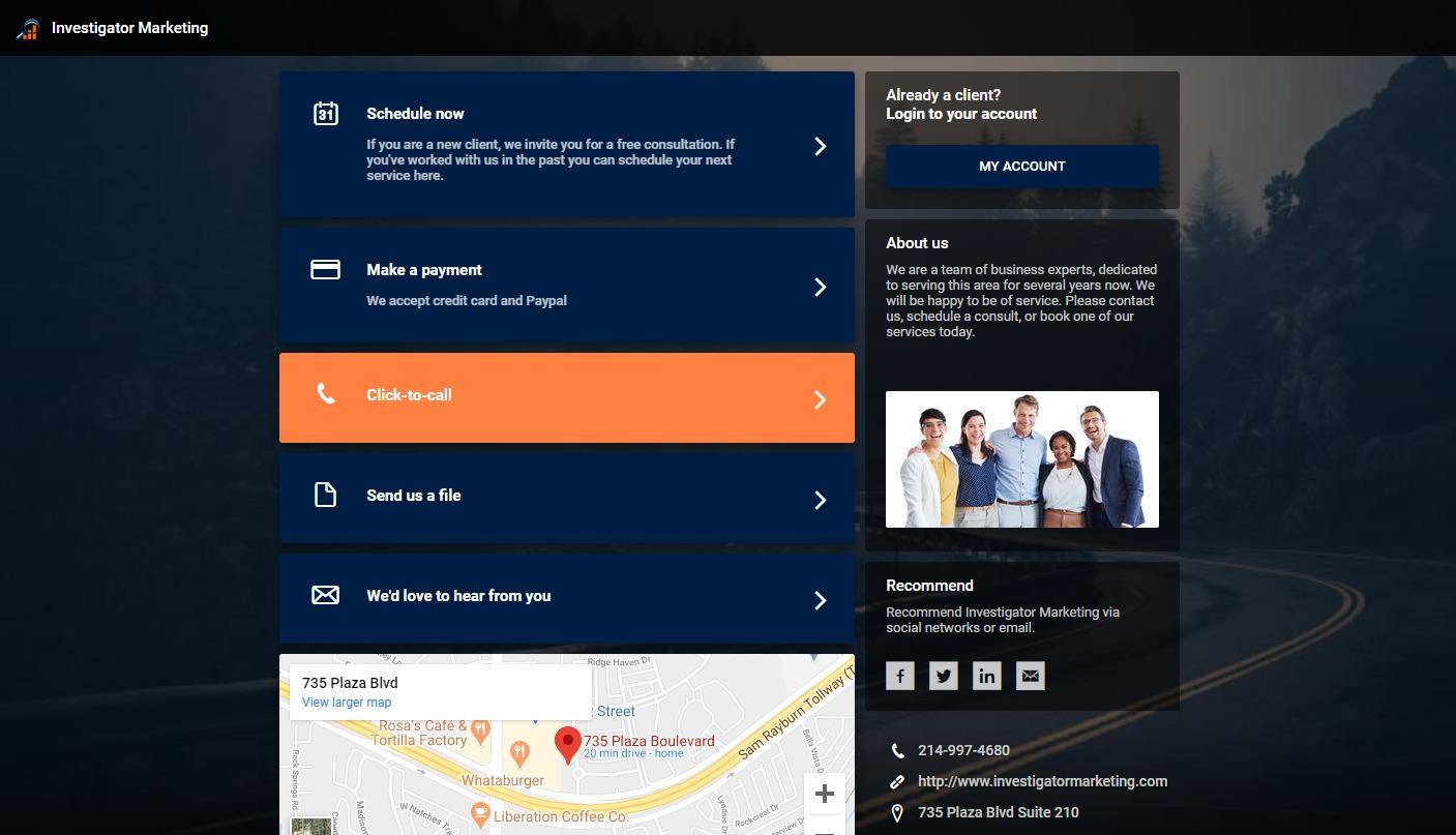 Private Private Investigator Client Dashboard